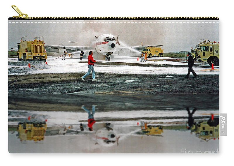 Airplane Crash Drill Carry-all Pouch featuring the photograph Airplane Crash Drill Landscape Altered Version by Jim Fitzpatrick