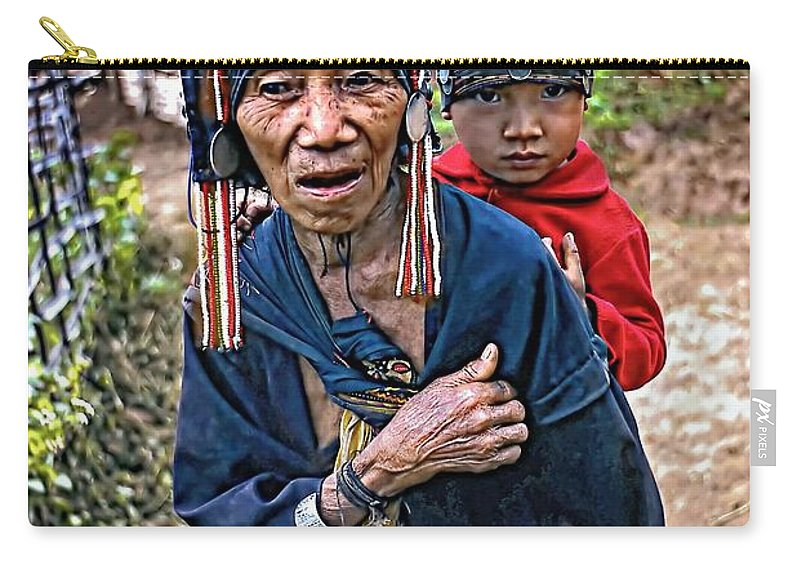 Akha Carry-all Pouch featuring the photograph Akha Tribe II by Steve Harrington