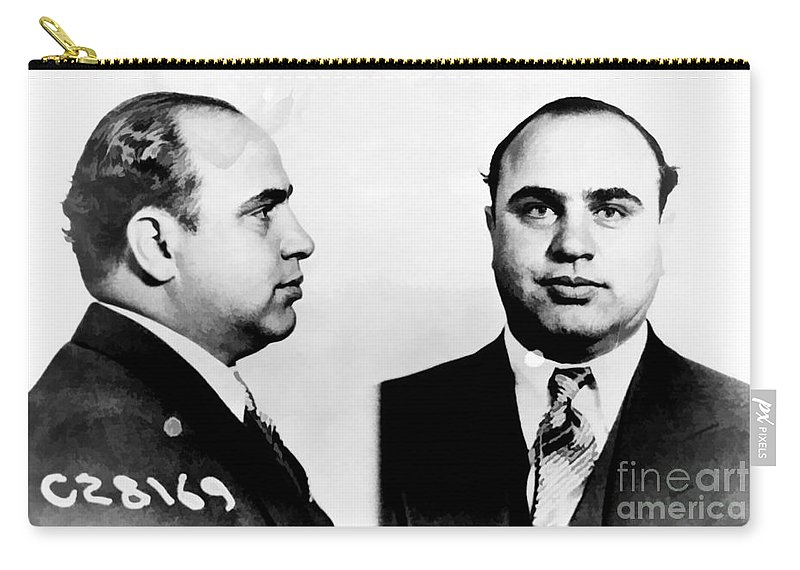 Black Carry-all Pouch featuring the photograph Al Capone Mug Shot by Edward Fielding