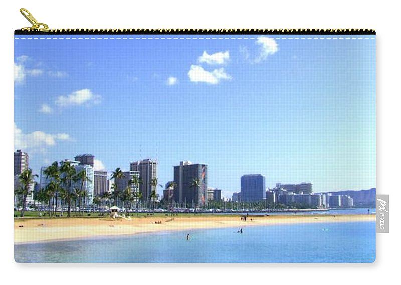 Landscape Carry-all Pouch featuring the photograph Ala Moana Beach Park And Diamond Head by Mary Deal