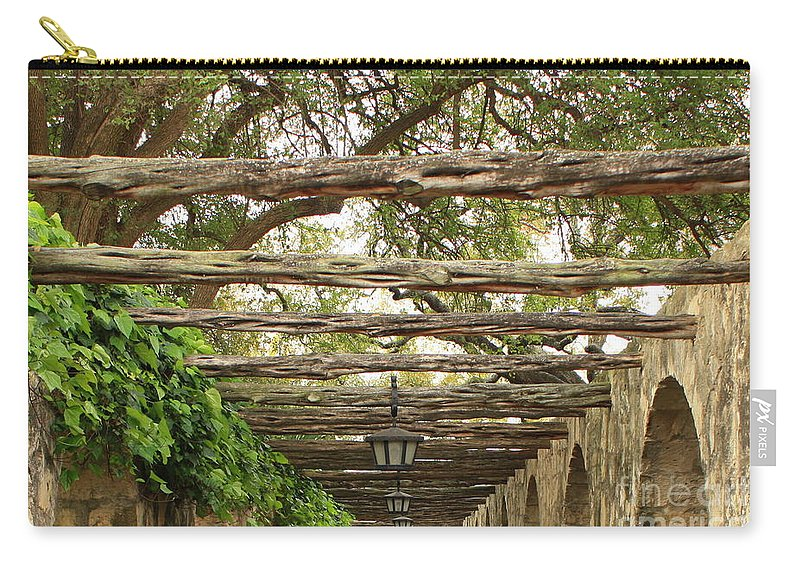 Alamo Walkway Carry-all Pouch featuring the photograph Alamo Walkway by Carol Groenen