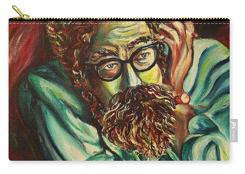 Allen Ginsberg Carry-all Pouch featuring the painting Alan Ginsberg Poet Philosopher by Carole Spandau