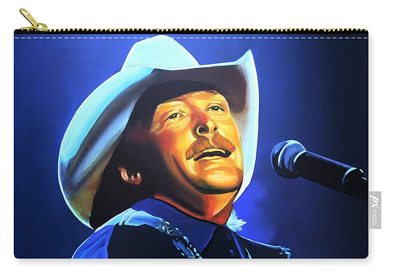Alan Jackson Carry-all Pouch featuring the painting Alan Jackson Painting by Paul Meijering