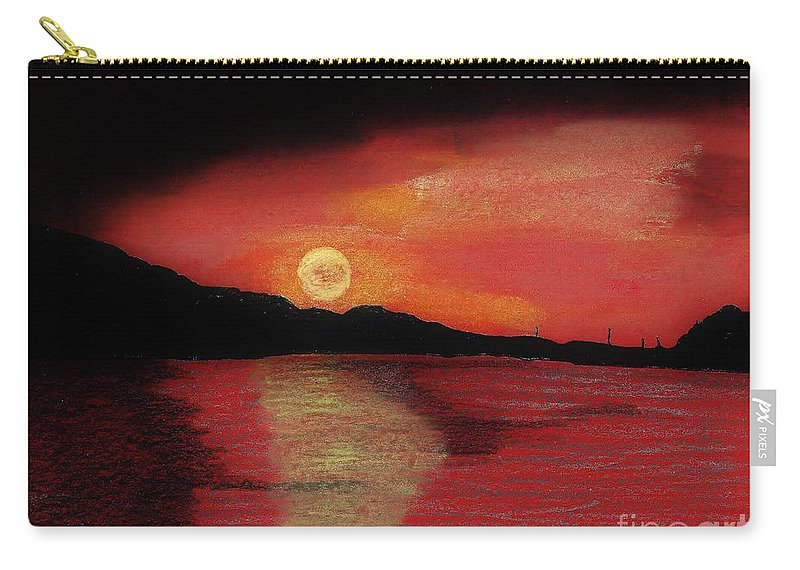 Alaska Carry-all Pouch featuring the drawing Alaska Sunset Bay by D Hackett