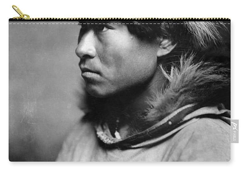 1906 Carry-all Pouch featuring the photograph Alaska Eskimo Man, C1906 by Granger