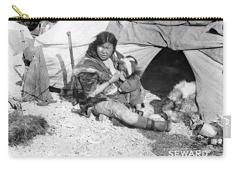 1907 Carry-all Pouch featuring the photograph Alaska Eskimos, C1907 by Granger