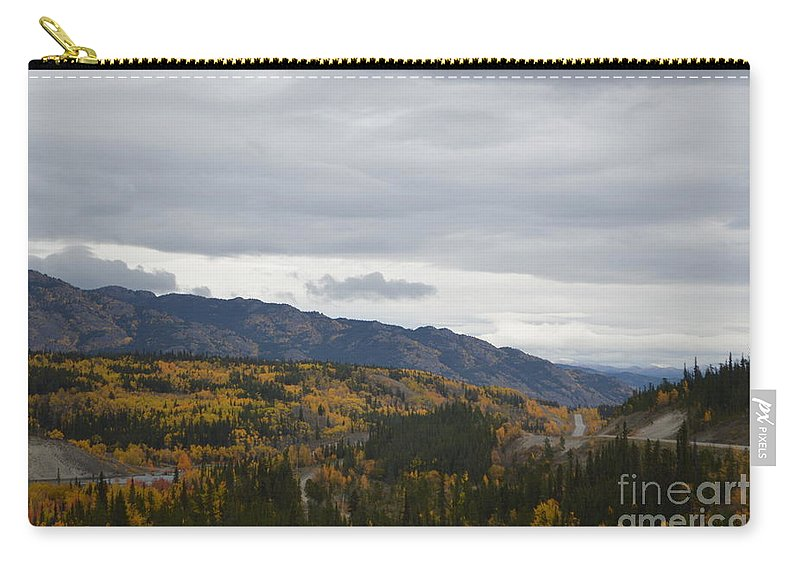 Alaska Carry-all Pouch featuring the photograph Alaska Highway At Lewes River Bridge by Brian Boyle