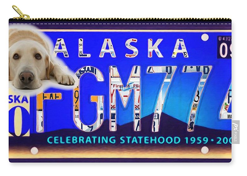 Alaska License Plate Carry-all Pouch featuring the painting Alaska License Plate by Jeelan Clark
