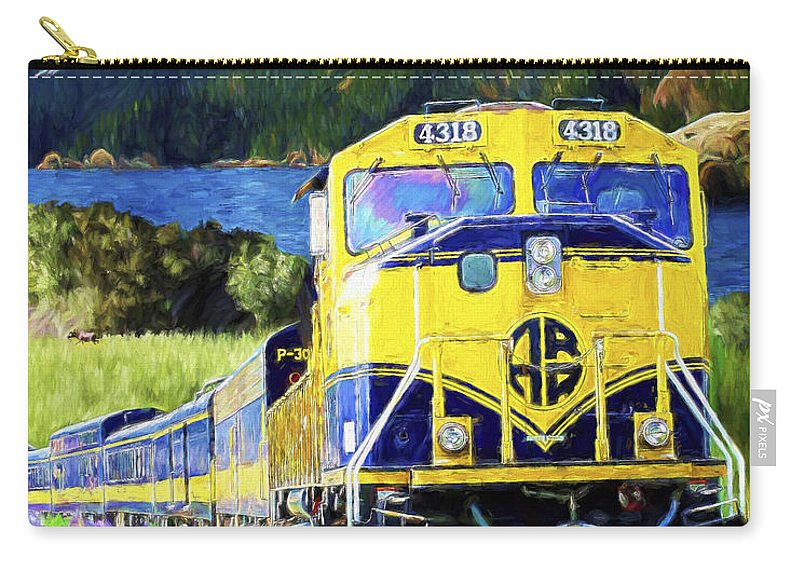 Railroad Carry-all Pouch featuring the painting Alaska Railroad by David Wagner