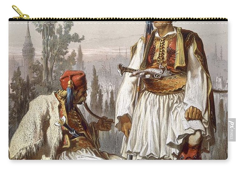 Turkey Carry-all Pouch featuring the drawing Albanians, 1865 by Amadeo Preziosi