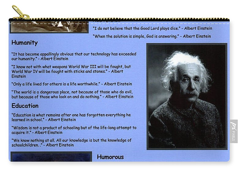 Albert Einstein Famous Quotes Carry All Pouch For Sale By Albert