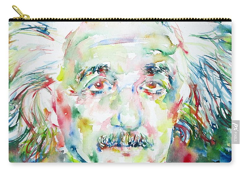 Albert Carry-all Pouch featuring the painting Albert Einstein Watercolor Portrait.1 by Fabrizio Cassetta