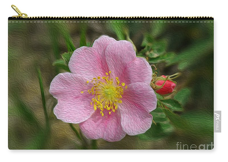 Rose Carry-all Pouch featuring the photograph Alberta's Wild Rose by Vivian Christopher