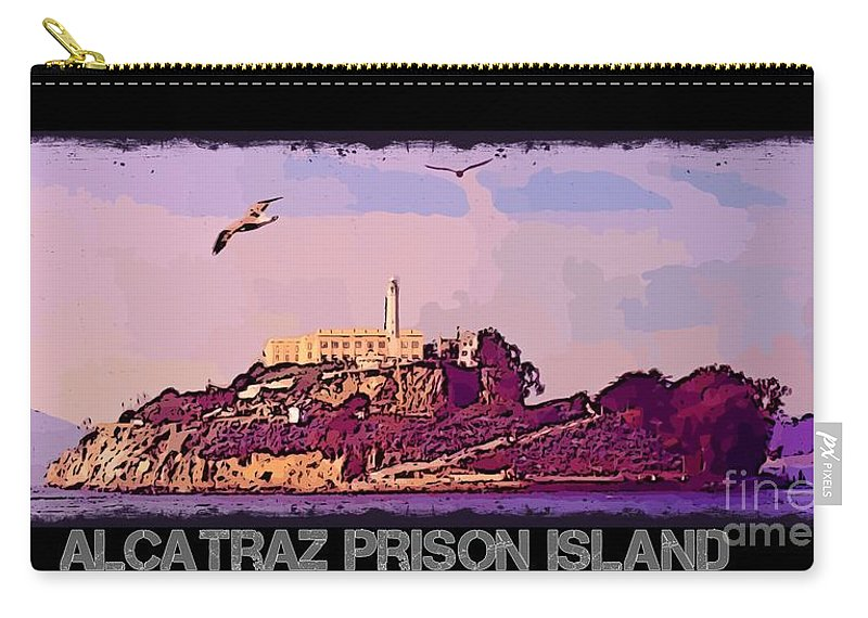Alcatraz Prison Poster Carry-all Pouch featuring the photograph Alcatraz Prison Poster by John Malone