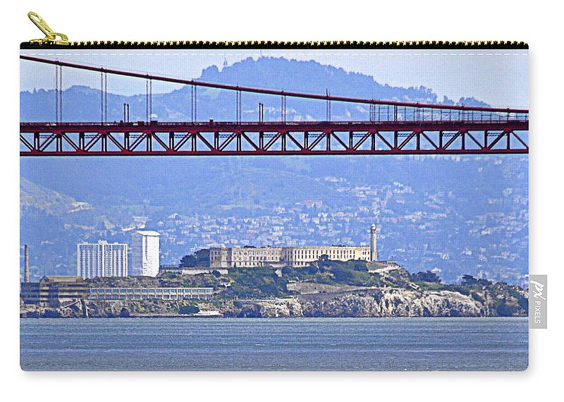 Scenic Carry-all Pouch featuring the photograph Alcatraz Through The Golden Gate by AJ Schibig