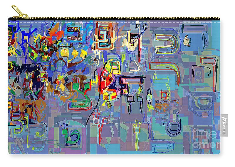 Carry-all Pouch featuring the digital art Alef Bais 1l by David Baruch Wolk