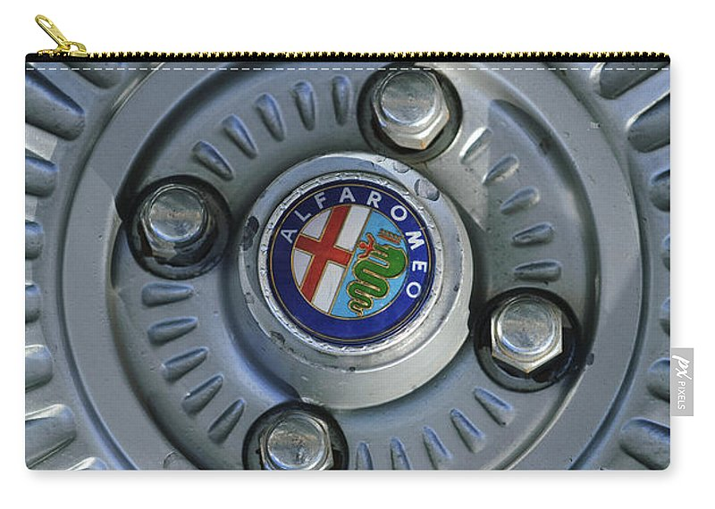Alfa Romeo Carry-all Pouch featuring the photograph Alfa Romeo Wheel Rim by Jill Reger