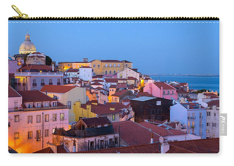 Lisbon Carry-all Pouch featuring the photograph Alfama Rooftops by Mark Robert Rogers