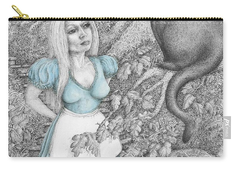 Drawing Carry-all Pouch featuring the mixed media Alice by Michael Stanford