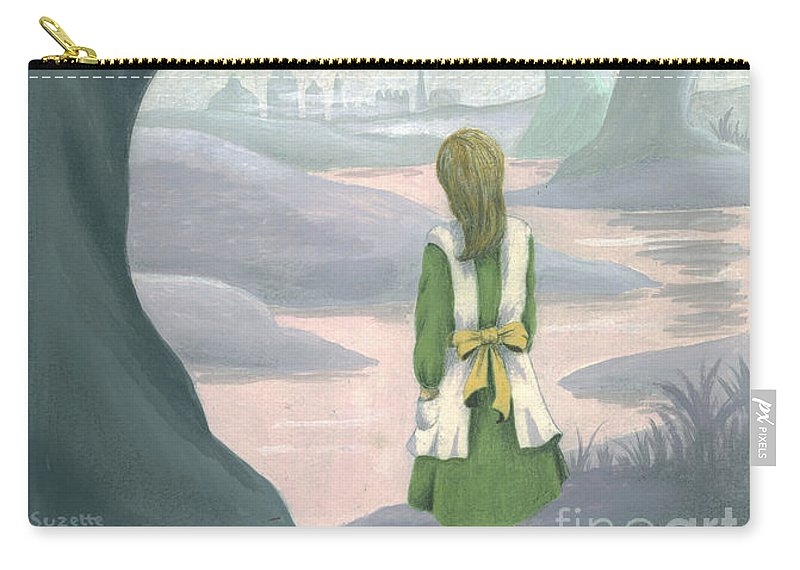 Alice In Wonderland Carry-all Pouch featuring the painting Alice by Suzette Broad