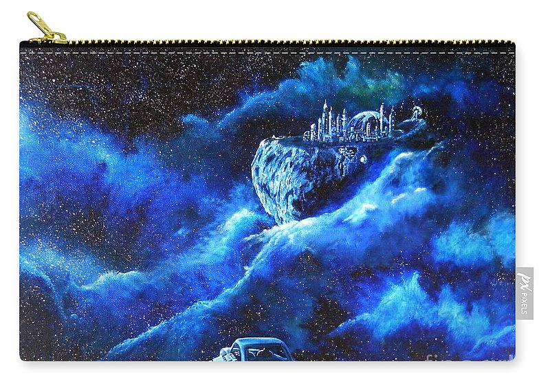 Asteroid Carry-all Pouch featuring the painting Alien Asteroid Mine by Murphy Elliott