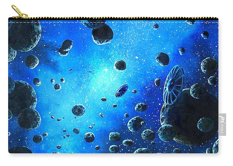 (space Ships) Carry-all Pouch featuring the painting Alien Flying Saucers by Murphy Elliott