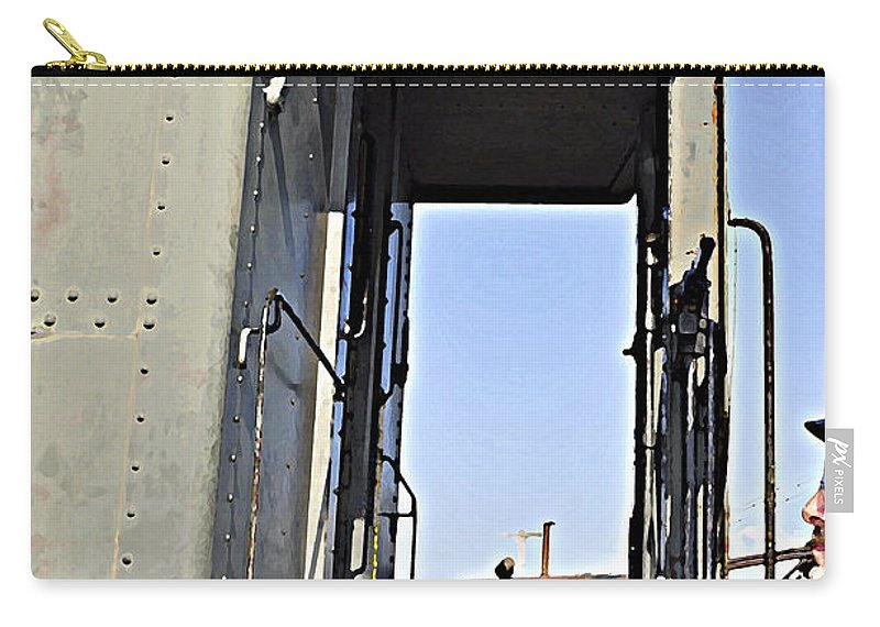 Old Trains Carry-all Pouch featuring the photograph All Aboard From The Series View Of An Old Railroad by Verana Stark