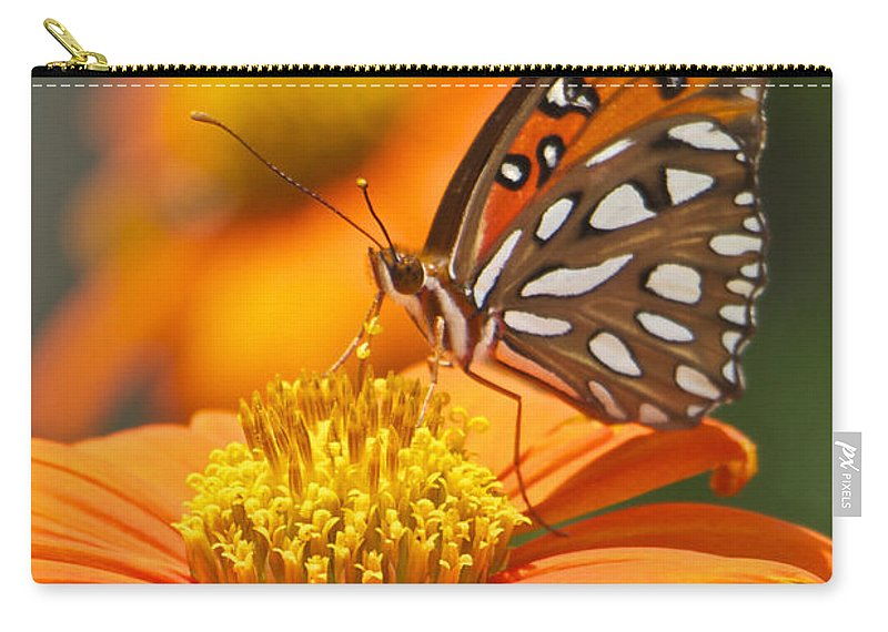 Orange Butterfly On Orange Flower Carry-all Pouch featuring the photograph All About Orange 3236 3 by Olivia Novak