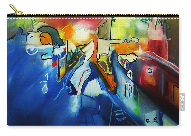 Colorful Carry-all Pouch featuring the painting All At Once by Jeff Barrett