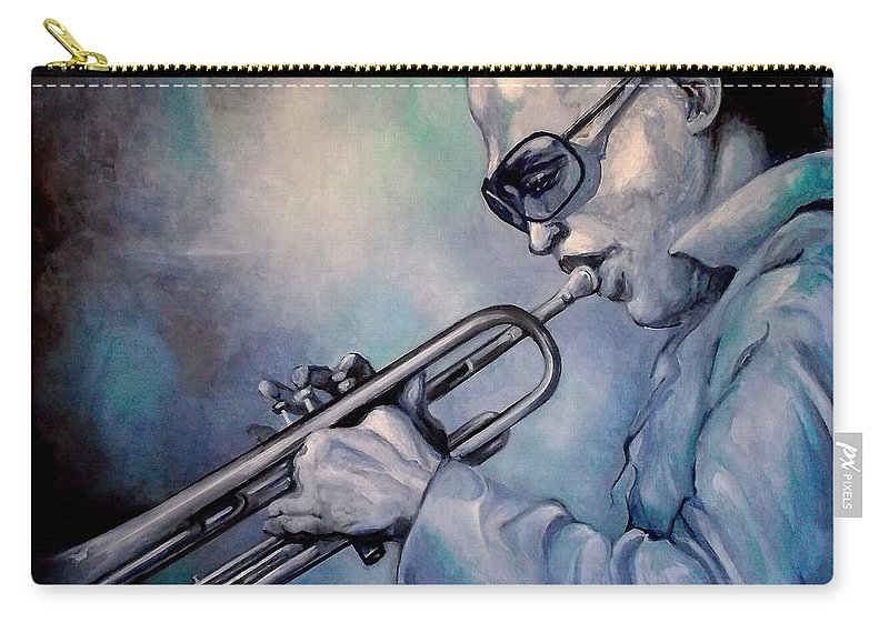 Glecee Limited Edition Print Of Miles Davis Carry-all Pouch featuring the painting All Blue Print by Lloyd DeBerry