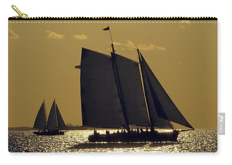 Sea Carry-all Pouch featuring the photograph All Sails Sunset In Key West by Bob Slitzan