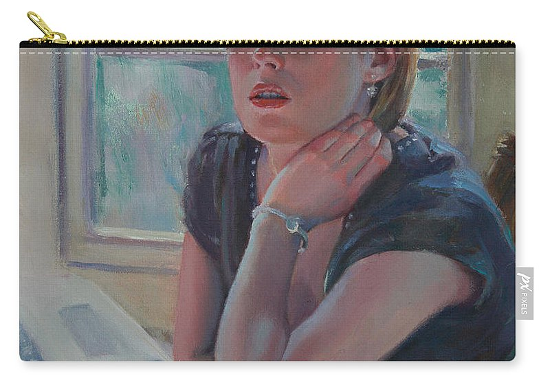 Figurative Carry-all Pouch featuring the painting All Twittered Out by Sarah Parks