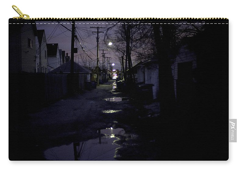 Cityscape Carry-all Pouch featuring the photograph Alley Night by Steven Dunn