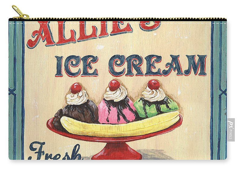 Ice Cream Carry-all Pouch featuring the painting Allie's Ice Cream by Debbie DeWitt
