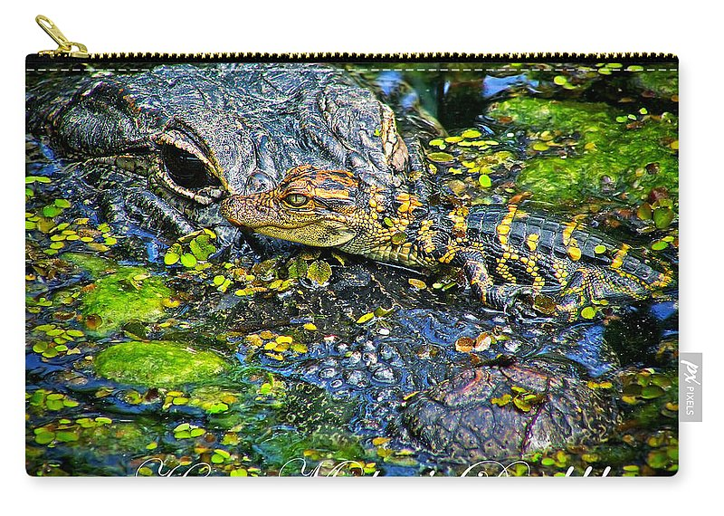 Mother's Day Carry-all Pouch featuring the photograph Alligator Mother's Day by Mark Andrew Thomas