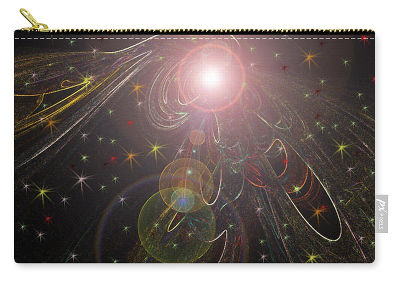Stars Planet Outter Space Moon Star Nebula Creation Explosion Gasses Black Gold Green Yellow Lime Color Colourful Shining Imaginary World Carry-all Pouch featuring the digital art Alluring Light by Andrea Lawrence
