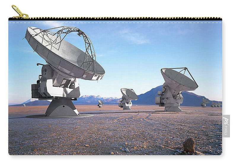 A Vision Of The Near-future Alma Antenna Array. Computer-generated Models Of Antennas Were Superimposed On A Real Photograph And Adjusted For Perspective And Lighting. Carry-all Pouch featuring the photograph Alma Vision by Paul Fearn