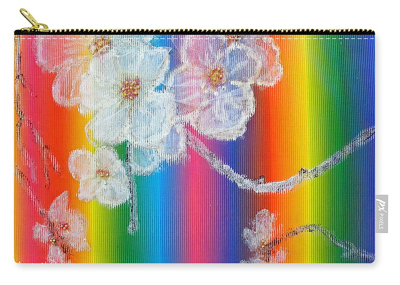 Augusta Stylianou Carry-all Pouch featuring the painting Almond Flowers On Spectrum by Augusta Stylianou