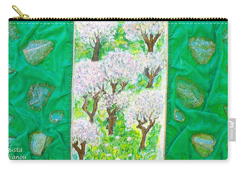 Augusta Stylianou Carry-all Pouch featuring the painting Almond Trees And Leaves by Augusta Stylianou