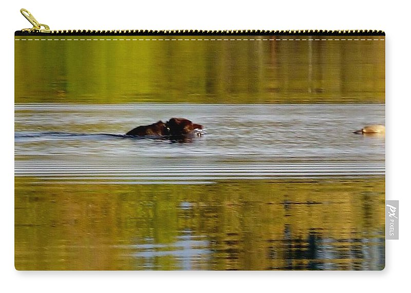 Brown Retriever Swimming Out To Capture His Toy Carry-all Pouch featuring the photograph Almost There by Susan Garren