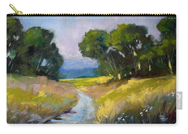 Oregon Carry-all Pouch featuring the painting Along A Country Road by Nancy Merkle