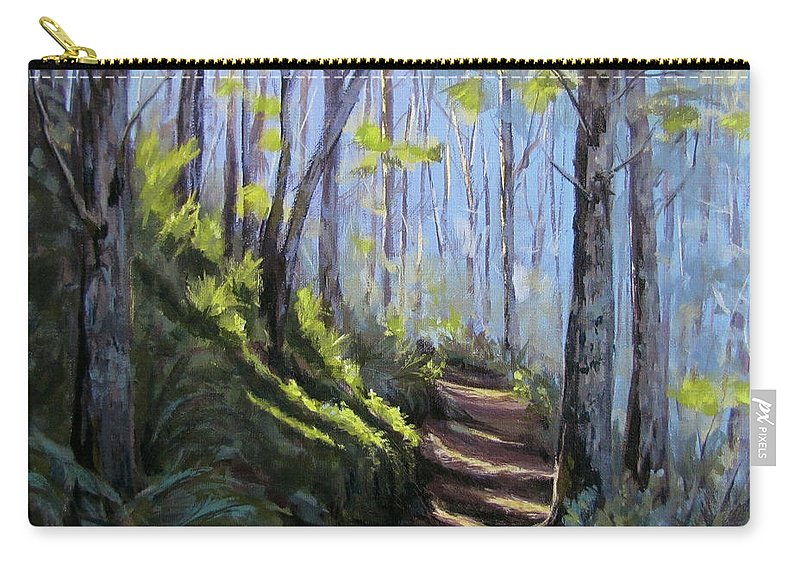 Path Carry-all Pouch featuring the painting Along the Path by Karen Ilari