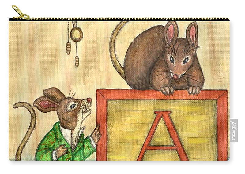 Mice Carry-all Pouch featuring the painting Alphabet Mice by Linda Mears