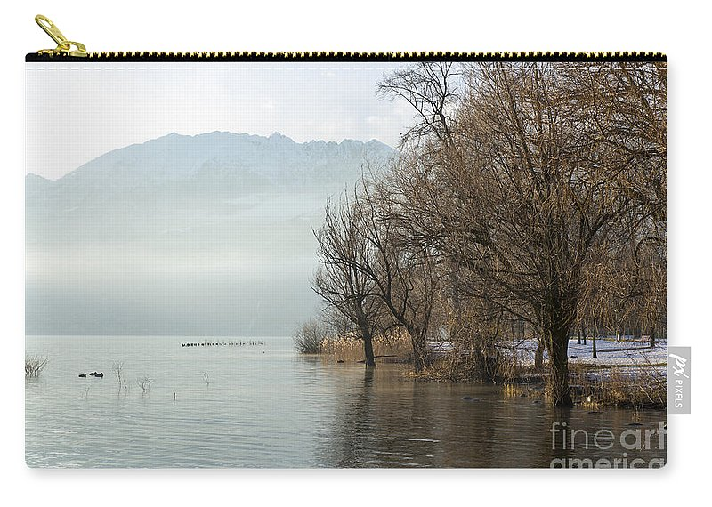 Lake Carry-all Pouch featuring the photograph Alpine Lake With Trees by Mats Silvan