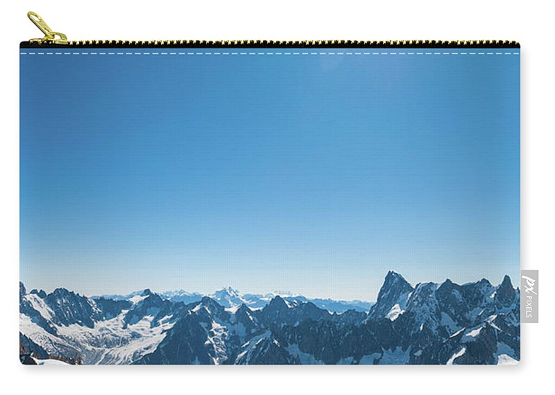 Scenics Carry-all Pouch featuring the photograph Alps Snow Summit Sunburst Mountaineers by Fotovoyager