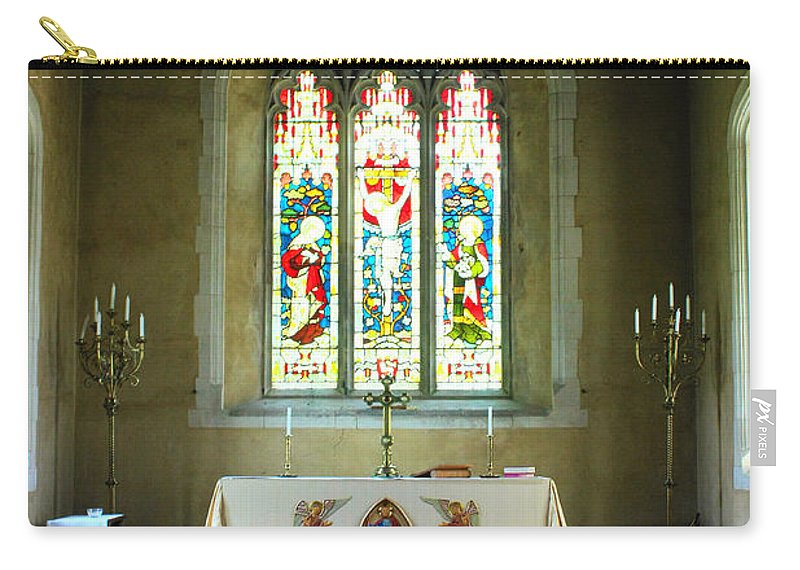 St Andrews Nether Wallop Carry-all Pouch featuring the photograph Altar And Stained Glass Window Nether Wallop by Terri Waters