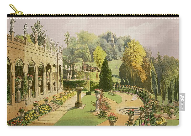 Now Alton Towers Carry-all Pouch featuring the drawing Alton Gardens by E Adveno Brooke
