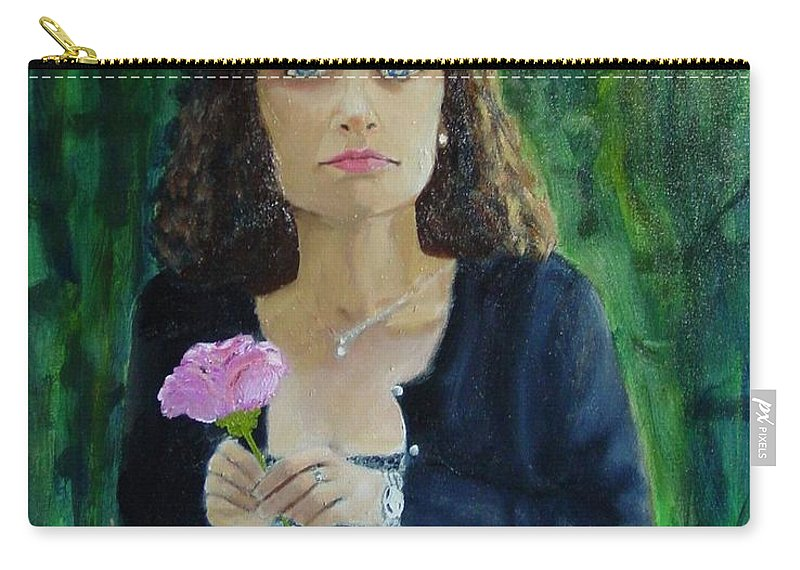 Portrait Carry-all Pouch featuring the painting Aly by Laurie Morgan