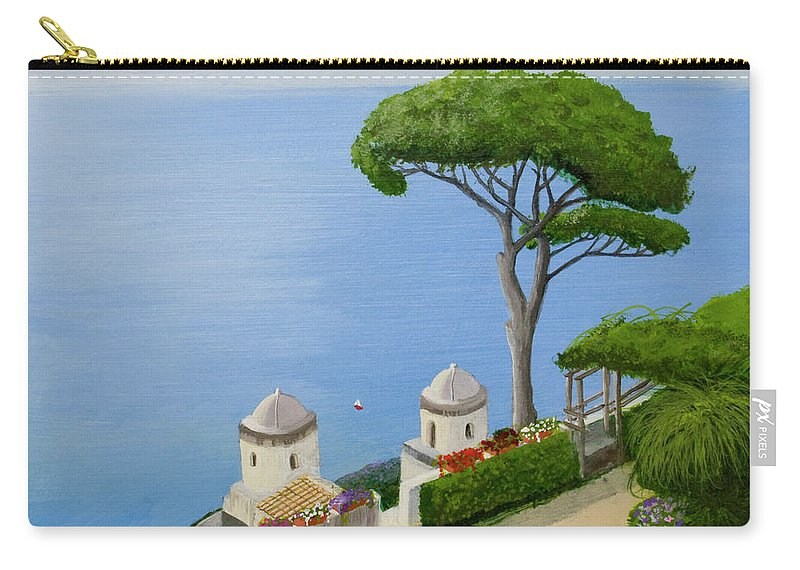 Amalfi Carry-all Pouch featuring the painting Amalfi Coast From Ravello by Mike Robles