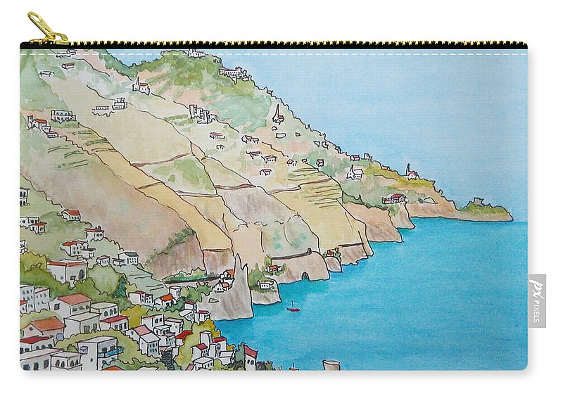Landscape Carry-all Pouch featuring the painting Amalfi Coast Praiano Italy by Mary Ellen Mueller Legault